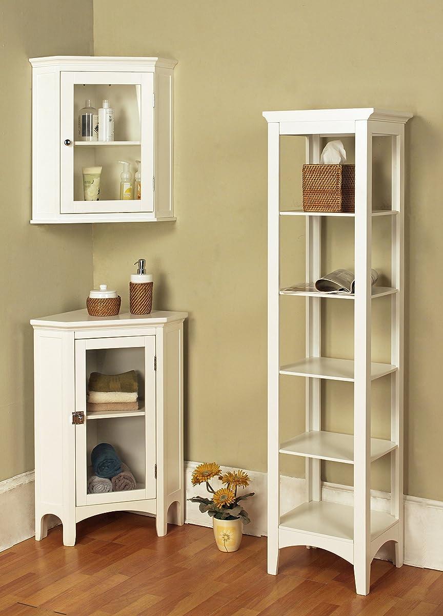 Elegant Home Fashions Madison Collection Shelved Corner Floor Cabinet, White