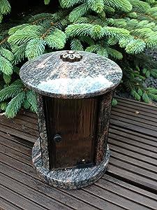 Granitlampe Lampe aus Granit Friedhofsleuchte Friedhofslicht Grablicht Granitleuchte Himalaya 20cm x 16cm   Bewertungen