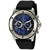 Bulova Men's (98B258) Marine Star Chronograph Stainless Steel and Silicone Casual Watch, Quartz Movement, Black (Color: Stainless Steel/Black)