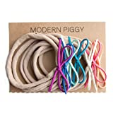 Suede Baby Bow Set of 7 on Nude Nylon Headband (Bright) (Color: Bright)