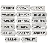 Inspirational Message Charm Pendants, Silver Tone (50 Random Pieces) (Color: Silver, Tamaño: 50 Random Pieces)