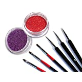 Combo Set 3pcs Precision Sable Nail Art Detailing Liner Brushes / 3pcs Pro Brushes For UV Gel Builder / Random Color Glitter Powder and Mini Beads With Bonus Star Confetti Sample