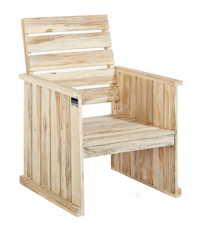 Strandgut07 Sessel mit Armlehne, Teakholz recycelt, white wash, Massivholz, Shabby chic Look günstig