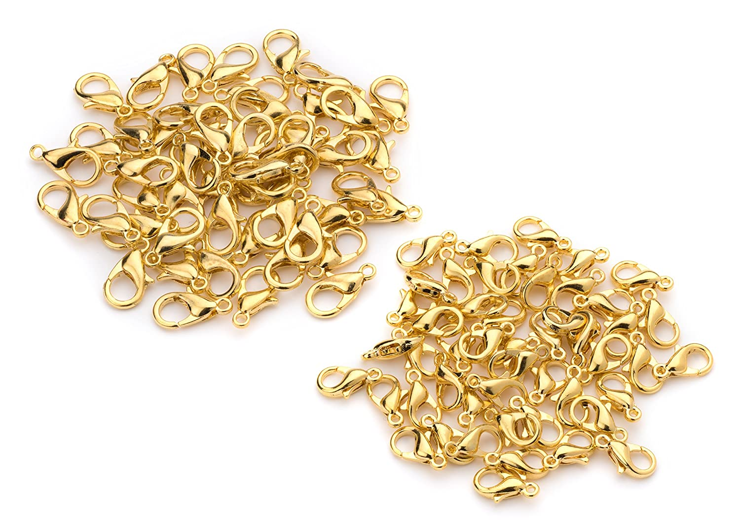 100 Lobster Clasps Gold Plated 50(12x6) 50(10x5) Lobster claw Clasp Jewelry Findings Lead & Nickel Free