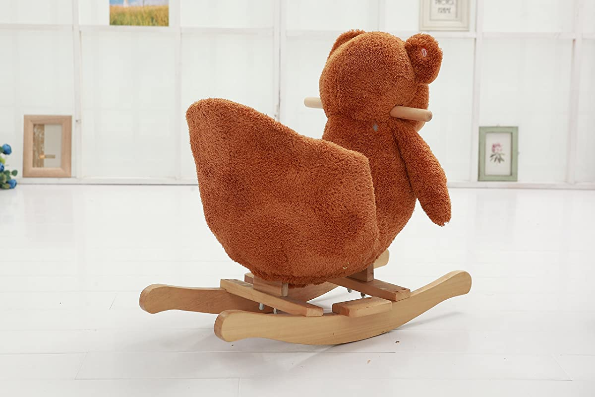 "DanyBaby Rocking Animal Ride On Rocking Plush Teddy Bear Chair Embroidered Words""I Love You Baby!""-ASTM Safety Approved"