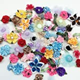 PEPPERLONELY 50 Gram (Approx 90PC) Mixed Ribbon Flowers Making Fabric Sewing Embellishments 13/16 ~ 2 Inch