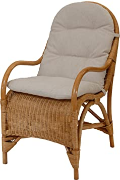 Bequemer Relax-Sessel inkl. Polster in der Farbe Honig, Fernsehsessel aus Natur-Rattan