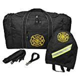 Lightning X Firefighter Turnout Gear Package - Gear Bag, SCBA Mask Bag, Fire Glove Strap, Shoulder Strap (Black)