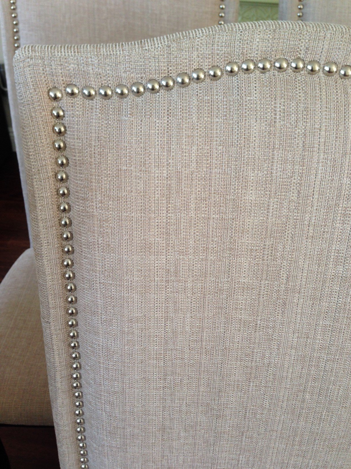 Set of 2 Upholstered Beige Fabric Dining Chairs with Nailhead Trim ...