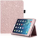 iPad Mini Case, iPad Mini 2 Case, iPad Mini 3 Case, UrbanDrama Glitter Sparkly Slim Fit Folio Stand PU Leather Case with Auto Wake/Sleep Feature Luxury Smart Cover for iPad Mini 1/2/3, Rose Gold (Color: UD006 - shiny rose gold)