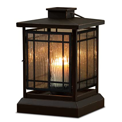 Black Powder Coat Prairie Candle Lantern with Textured Glass Panes by Real Flame