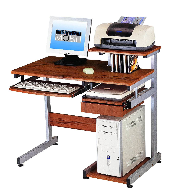 Details about Complete Media Computer Desk Woodgrain Utility Drawer