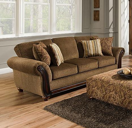 Chelsea Home Furniture Fairfax Sofa, Cornell Chestnut/Alpaca Cumin Pillows