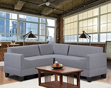 Carolina Accents Makenzie 3-Piece Sectional Sofa Set, Ash