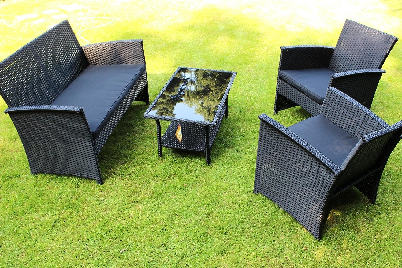 Lounge Garnitur 4-tlg anthrazit KYNAST Polyrattan Möbelset günstig