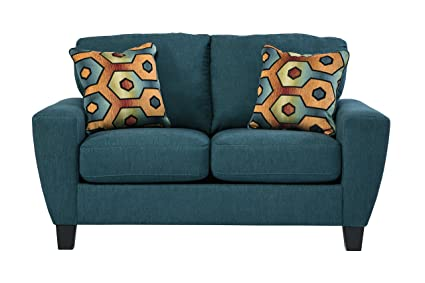 Sagen Contemporary Blue Fabric Loveseat