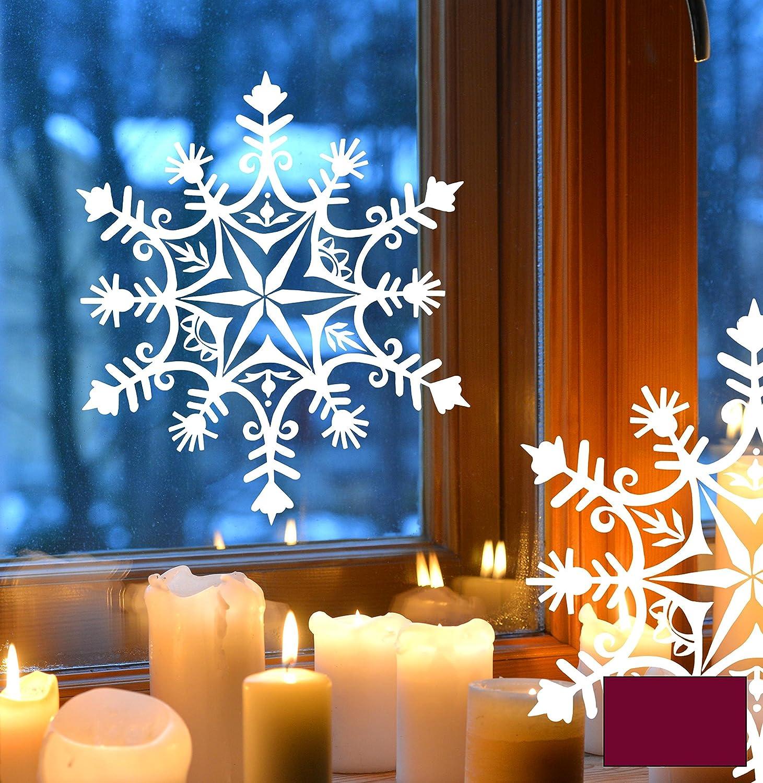 Fensterbild Fensteraufkleber Winterbild Schneeflocke Schneekristall M1717 – ausgewählte Farbe: *Beere* – ausgewählte Größe: *L – 33cm breit x 38cm hoch* günstig online kaufen