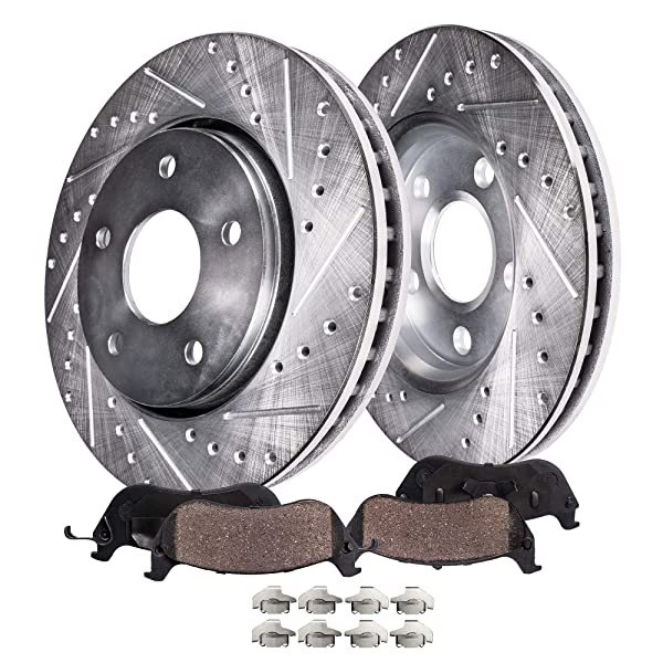2006 For Lincoln Zephyr Coated Drilled Slotted Rear Brake Rotors and Pads