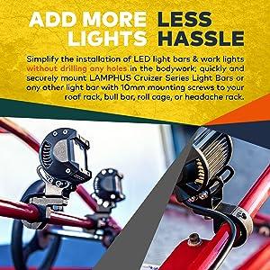 LAMPHUS 2PC Off-Road LED Light Bar 0.75/1/1.25 Horizontal Bar Clamp Mounting Kit [Rubber Teeth] [Aluminum] [Includes Hex Key] [for Bull Bars, Roof Racks, Roll Cages] for ATVs, UTVs, and Trucks (Tamaño: 2-Pack (Mini))