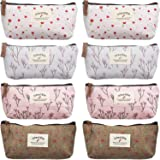 TecUnite 8 Pieces Pen Case Pencil Bag Multiple Flower Floral Canvas Pencil Pen Case Pen Holder Cosmetic Makeup Bag Set