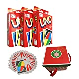 Younglingn UNO 3 Pack Classic Board Game Standard 108 English Cards Game with Gift-Wrapped for Family Enjoy More Fun - Christmas Surprise