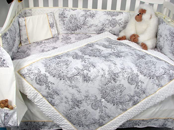 White & Charcoal Floral French Toile 14pc Shabby Chic Baby Bedding