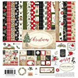 Carta Bella Paper Company CBCH89016 Christmas Collection Kit Paper, Red/Green/Black/Tan (Color: Red/Green/Black/Tan, Tamaño: 12-x-12-Inch)
