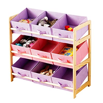 3 Tier Storage Unit With 9 Pastel Coloured Canvas Bins