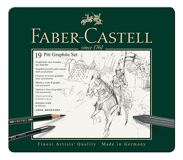 Faber-Castel 19 Piece Pitt Graphite Tin Set (Color: Grey, Tamaño: 19 Piece)