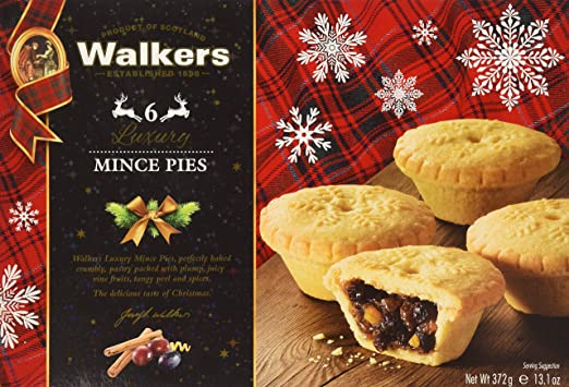 Walkers 6 Luxury Mincemeat Tarts - Net Wt. 372 g / 13.1 oz