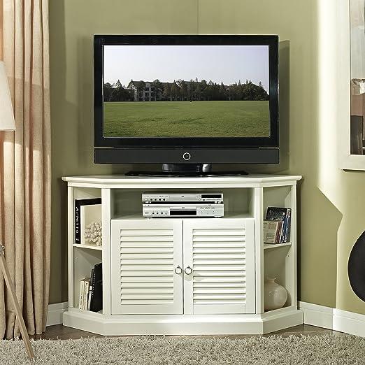 WE Furniture 52-Inch Wood Console Corner TV Stand, White