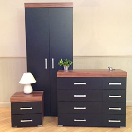 Bedroom Furniture Set *Black & Walnut* - Wardrobe, 4+4 Drawer Chest & 2 Draw Bedside Cabinet