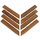 Bare Decor EZ-Floor Corner Trim Piece Interlocking Flooring in Solid Teak Wood (Set of 8), Oiled Finish (Color: Brown, Tamaño: 8 Corner Piece)