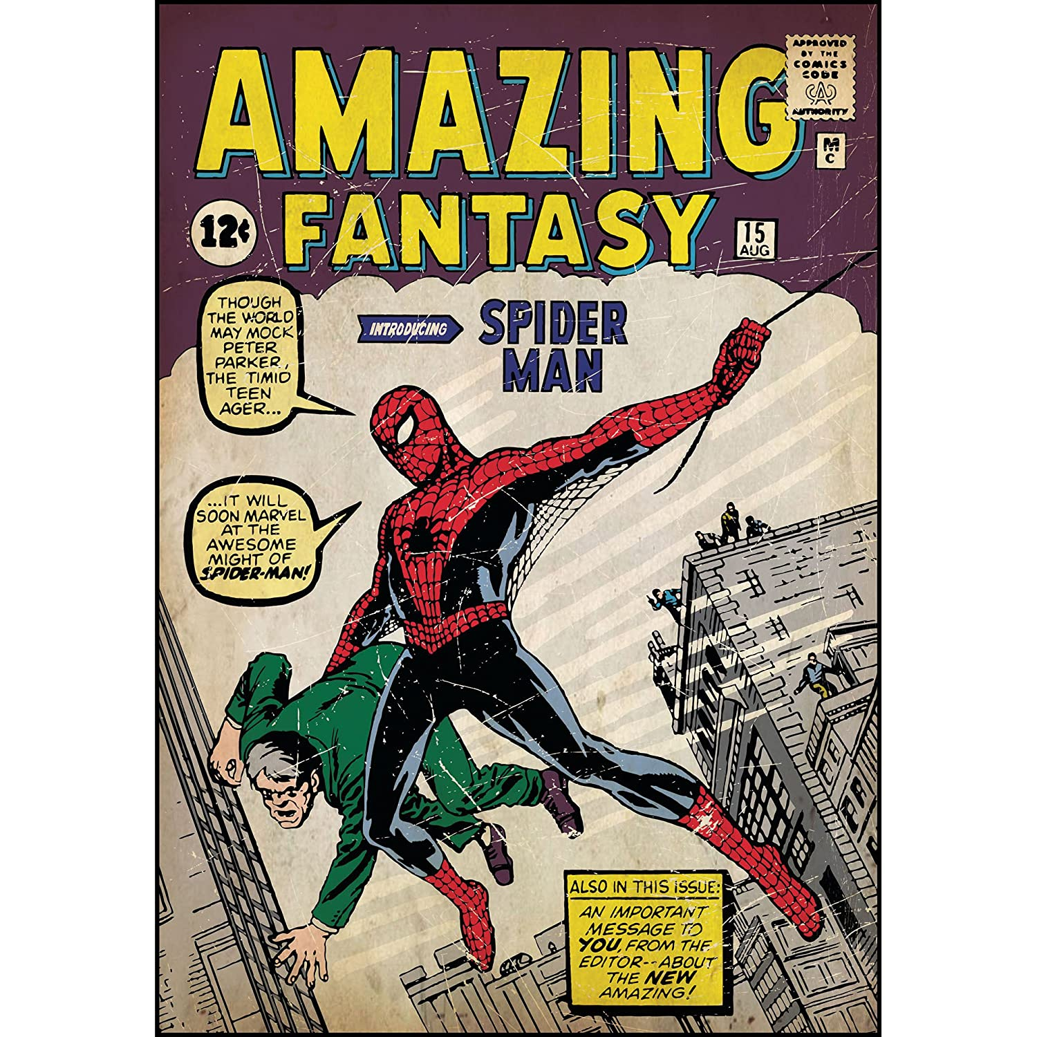 Spiderman Peel and Stick Comic Book Cover