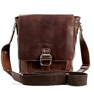 STOKED sac à bandoulière NATHAN - petit - sac en cuir avec bretelle - besace clair marron en cuir véritable (22 x 25 x 7 cm)   de clients pour plus d'informations