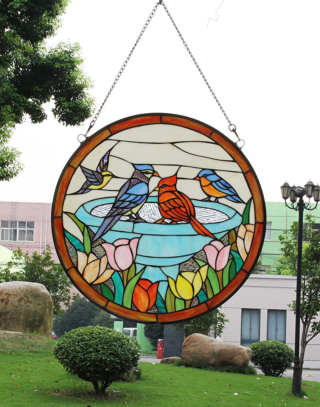 Makenier Vintage Tiffany Style Stained Church Art Glass Parrot and Tulip Round Window Panel Wall Hanging 4