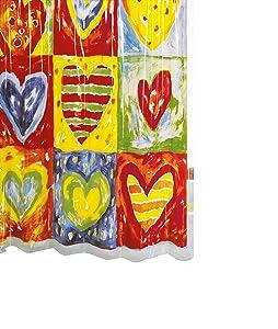 Ridder 358000-350 - Cortina de ducha de vinilo (180 x 200 cm), diseño de corazones   revisión y descripción más