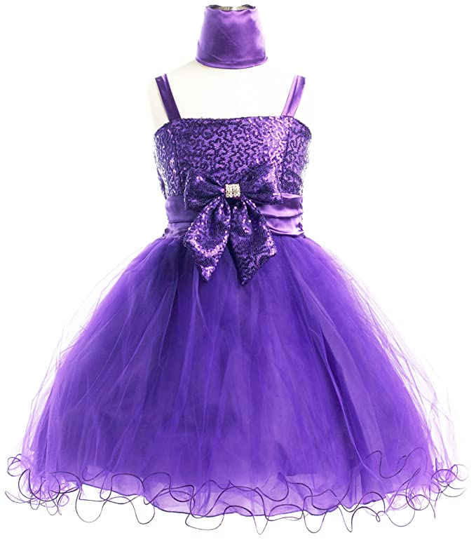 Sequins & Soft Tulle Pageant Holiday Flower Girl Party Dress