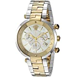 Versace 'Rêvive Chrono' Swiss Quartz Stainless Steel Casual Watch, Color:Two Tone (Model: VAJ050016) (Color: Mother Of Pearl)