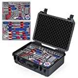 WORKPRO W009043A 110-Piece Home Repair Tool Set - Chrome-vanadium, Packed in Waterproof Case for DIY, Auto and Home Maintenance (Color: Black, Tamaño: 110-Piece)