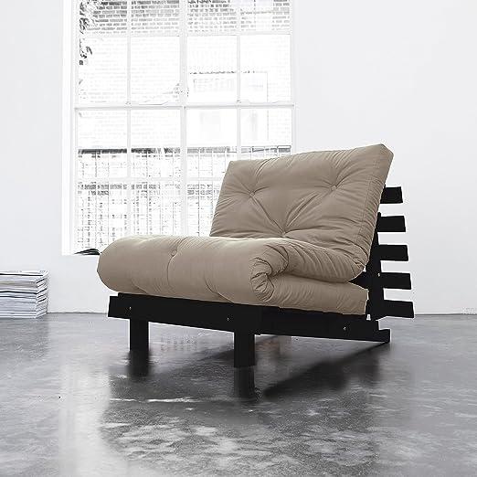 KARUP - ROOTS 90 CM, divano, una chaise longue e un letto, futon ecrù su legno tinto wengè