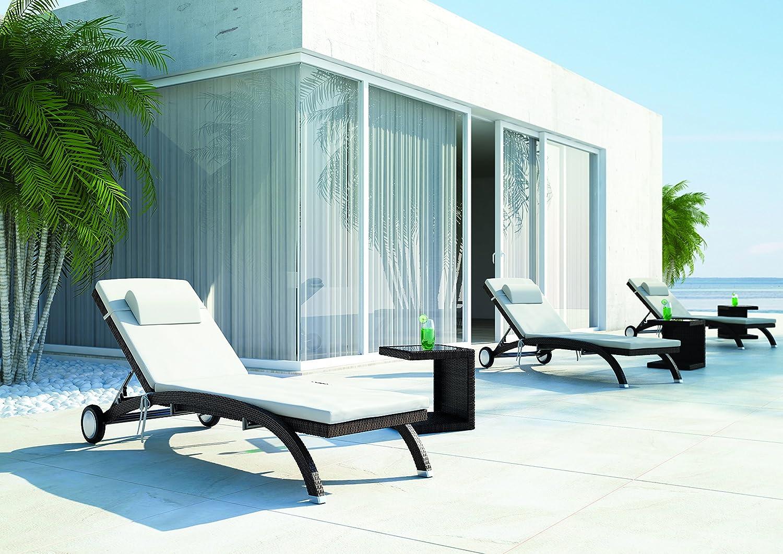 Polyrattan Gartenmöbel Gartenliege Sonnenliege Luna braun mit Schönheitsfehler günstig bestellen