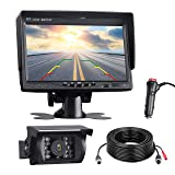 TOGUARD Backup Camera Kit, 7'' LCD Rear View Monitor with IP67 Waterproof Night Vision Back up Rearview Reverse Cam for Trucks, RVs, Trailers, Bus, Harveste, Pickup, Motor Home, Van Large Vehicles (Color: Black-Wired Backup Kit)