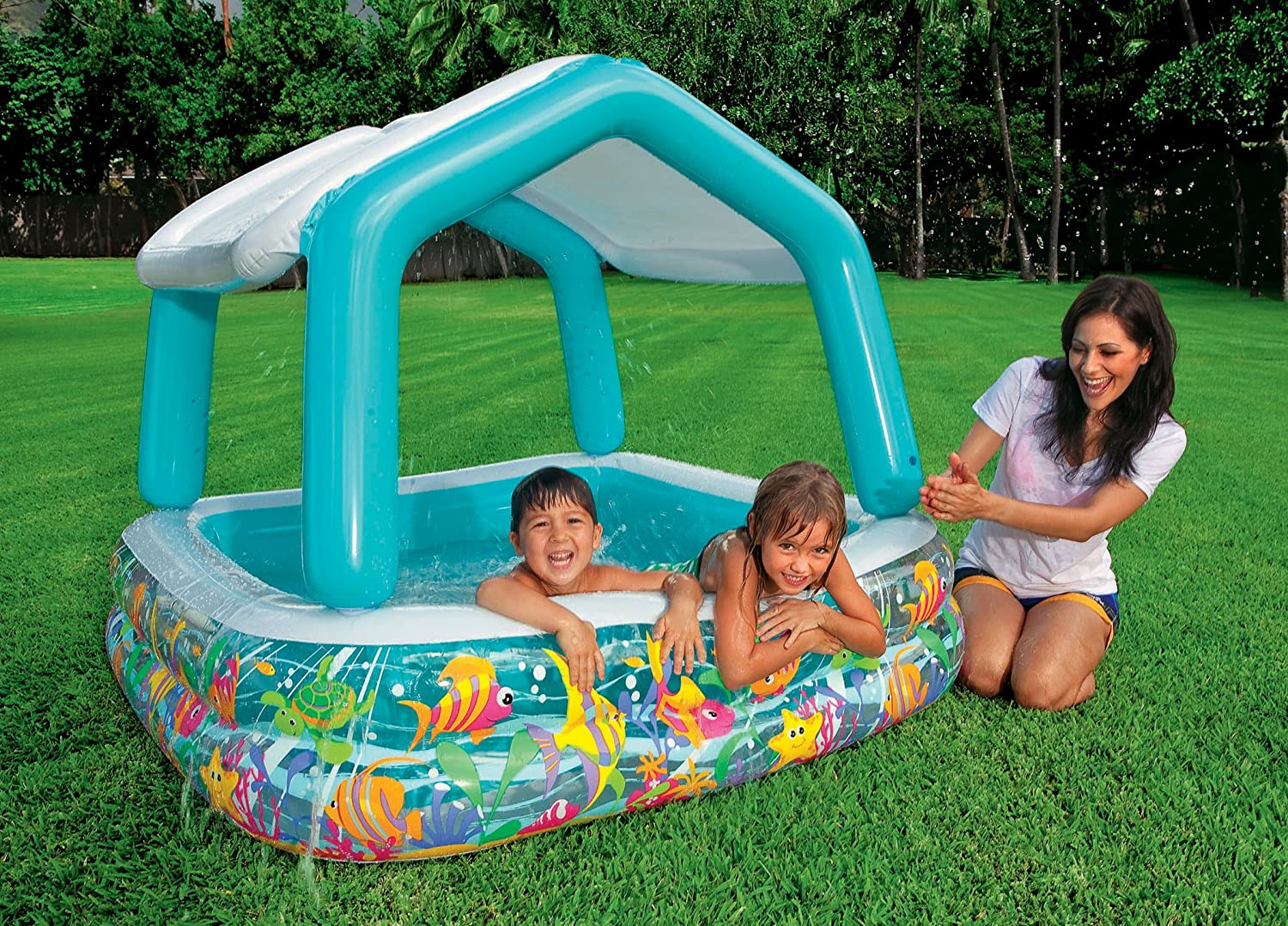 Intex 57470ep sun shade blow up pool Intex inflatable swimming pool