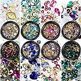 8 Boxes Nail Art Rhinestones Flatback Diamonds Crystals Beads Gems Mixed Colorful for Nail Art Decorations DIY Design