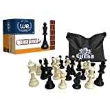 WE Games Best Value Staunton tournament chess pieces - black and cream plastic chessmen with 3.75 inch king