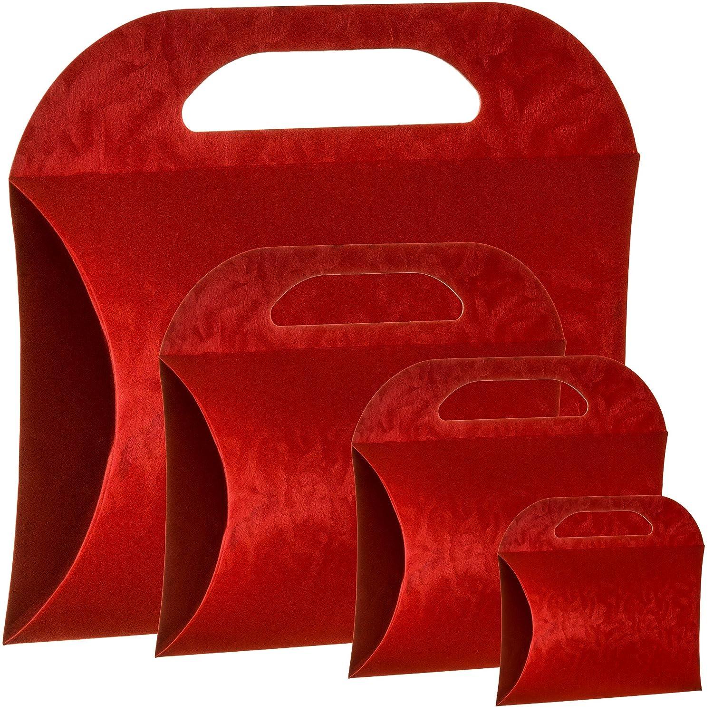 12 Gift Boxes Bags - Italian Design Wrap Premium and Stylish Borsetta Red (4.33 X 4.72 X 1.38 Inches) 110