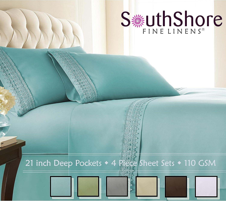 Southshore Fine Linens (TM) Aspen Lace® Deep Pocket Sheet Set with Beautiful Lace southshore fine linens tm aspen lace® deep pocket sheet set with beautiful lace