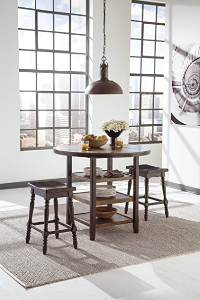Moriany Dark Brown Casual Dining Counter Table whit 2 Stools