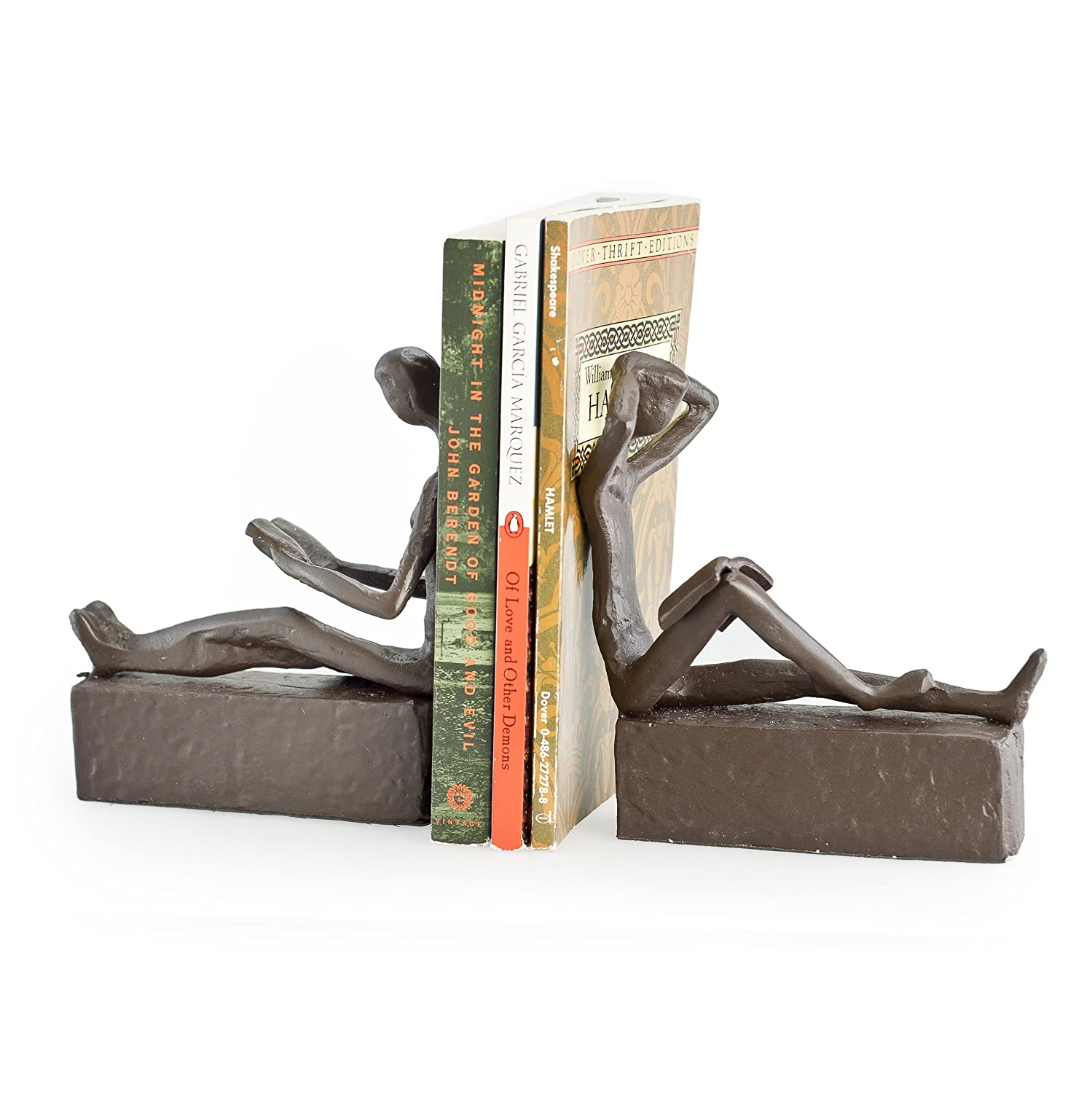 Child reading statue for garden boy girl reading book statue - Sturdy bookends ...
